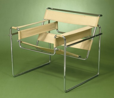 Marcel Breuer (American, born Hungary, 1902-1981). <em>Armchair, Model B4</em>, ca.1927-1928. Chromium plated tubular steel, white canvas Brooklyn Museum, Gift of Mr. and Mrs. Alexis Zalstem-Zalessky, 59.236.4. Creative Commons-BY (Photo: Brooklyn Museum, 59.236.4_SL1.jpg)