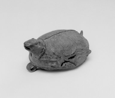 Tarascan. <em>Bell Pendant  in the Form of a Turtle</em>, 1200-1521. Copper, 1 5/8 x 3 1/4 x 2 in. (4.1 x 8.3 x 5.1 cm). Brooklyn Museum, By exchange, 59.237.1. Creative Commons-BY (Photo: Brooklyn Museum, 59.237.1_bw.jpg)