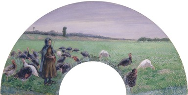 Camille Jacob Pissarro (French, 1830-1903). <em>Girl in Field with Turkeys (La Dindonnière)</em>, 1885. Gouache on silk mounted on paper, 18 1/2 x 31 in. (47 x 78.7 cm). Brooklyn Museum, Gift of Edwin C. Vogel, 59.28 (Photo: Brooklyn Museum, 59.28_cropped_SL1.jpg)