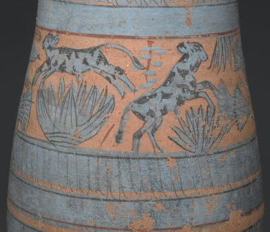 <em>Blue-Painted Vase with Marsh Scene</em>, ca. 1390-1353 B.C.E. Clay, Egyptian blue, pigment, 11 5/8 x Diam. of body 6 5/16 in. (29.6 x 16 cm). Brooklyn Museum, Charles Edwin Wilbour Fund, 59.2. Creative Commons-BY (Photo: Brooklyn Museum, 59.2_detail1_PS2.jpg)