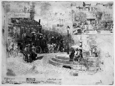 Félix Hilaire Buhot (French, 1847-1898). <em>La Place Pigalle</em>, 1878. Etchings on wove paper, 11 1/2 x 14 1/4 in. (29.2 x 36.2 cm). Brooklyn Museum, Gift of Mrs. Howard M. Morse, 59.53.3 (Photo: Brooklyn Museum, 59.53.3_bw.jpg)