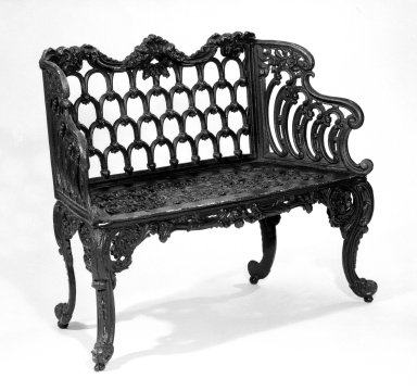 <em>Love Seat</em>, ca.1850. Cast iron, 35 x 42 1/2 x 20 1/2 in. (88.9 x 108 x 52.1 cm). Brooklyn Museum, Bequest of Mrs. William Sterling Peters, 59.58. Creative Commons-BY (Photo: Brooklyn Museum, 59.58_bw.jpg)
