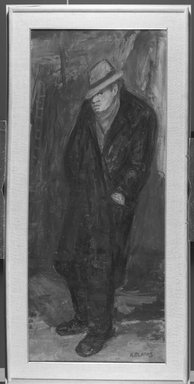 Arbit Blatas (American, born Lithuania, 1908-1999). <em>Portrait of Soutine</em>, mid-20th century. Oil on canvas, 58 1/8 x 24 3/16 in. (147.6 x 61.4 cm). Brooklyn Museum, Gift of Mr. and Mrs. Erwin D. Swann, 59.61. © artist or artist's estate (Photo: Brooklyn Museum, 59.61_acetate_bw.jpg)