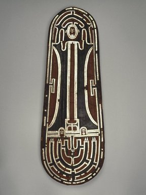 Guadalcanal Islander. <em>Ceremonial Shield</em>, before 1852. Basketry, nautilus shell, parinarium nut paste, pigment, 31 3/4 x 11 3/4 x 2 1/2 in. (80.6 x 29.8 x 6.4 cm). Brooklyn Museum, Frank L. Babbott Fund and Carll H. de Silver Fund, 59.63. Creative Commons-BY (Photo: Brooklyn Museum, 59.63_SL1.jpg)
