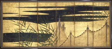 Yusho Kaiho (Japanese, 1533-1615). <em>Drying Fishnets in the Four Seasons</em>, ca. 1610. Ink, color and gold on paper, Overall: 66 1/6 x 148 1/2 in.  (168.1 x 377.2 cm). Brooklyn Museum, Carll H. de Silver Fund and Ella C. Woodward Memorial Fund, 59.7.1. Creative Commons-BY (Photo: Brooklyn Museum, 59.7.1_SL3.jpg)