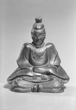 <em>Sculpture of Michizane</em>, 1615-1857. Wood, lacquer, 6 5/8 x 5 1/2 x 3 9/16 in. (16.8 x 14 x 9 cm). Brooklyn Museum, Gift of Mathias Komor, 59.85. Creative Commons-BY (Photo: Brooklyn Museum, 59.85_acetate_bw.jpg)