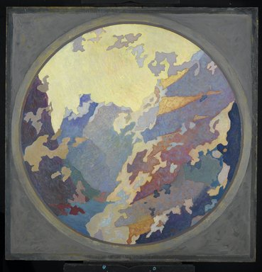 Augustus Vincent Tack (American, 1870-1949). <em>Canyon</em>, ca. 1931. Oil on canvas on cardboard, Tondo: 46 1/2 x 46 in. (118.1 x 116.8 cm). Brooklyn Museum, Dick S. Ramsay Fund, 59.96 (Photo: Brooklyn Museum, 59.96_PS2.jpg)