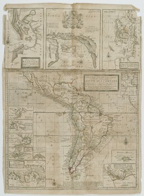 Herman D. Moll (German, 1654-1732). <em>A New & Exact Map of the Coast Countries and Islands Within Ye Limits of Ye South Sea Company</em>, n.d. Engraving, Sheet: 19 7/8 x 27 3/8 in. (50.5 x 69.5 cm). Brooklyn Museum, Gift of Mrs. M.D.C. Crawford and Adelaide Goan, 60.108.82e (Photo: Brooklyn Museum, 60.108.82e_PS2.jpg)