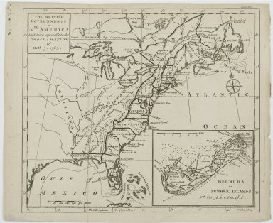 J. Gibson. <em>Map of The British Governments in North America</em>, 1763. Engraving, Sheet: 10 7/16 x 8 11/16 in. (26.5 x 22 cm). Brooklyn Museum, Gift of Mrs. M.D.C. Crawford and Adelaide Goan, 60.108.82j (Photo: Brooklyn Museum, 60.108.82j_PS2.jpg)