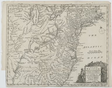 Emanuel Bowen. <em>A Map of the British American Plantations, extending from Boston in New England to Georgia; including all the back settlements in the respective provinces, as far as the Mississipi.</em>, 1754. Engraving, Sheet: 11 13/16 x 9 1/16 in. (30 x 23 cm). Brooklyn Museum, Gift of Mrs. M.D.C. Crawford and Adelaide Goan, 60.108.82k (Photo: Brooklyn Museum, 60.108.82k_PS2.jpg)