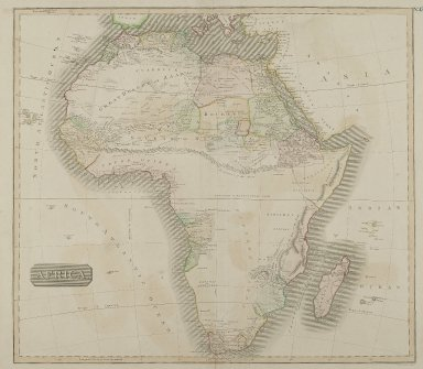 J. & G. Menzies. <em>Africa</em>, n.d. Engraving, Sheet: 28 1/8 x 21 1/4 in. (71.5 x 54 cm). Brooklyn Museum, Gift of Mrs. M.D.C. Crawford and Adelaide Goan, 60.108.82m (Photo: Brooklyn Museum, 60.108.82m_PS2.jpg)