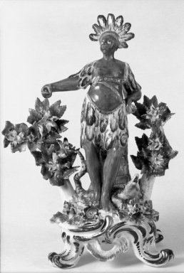 Bow Porcelain Factory. <em>Allegorical Figure of America from the Four Continents</em>. Porcelain Brooklyn Museum, Bequest of James Hazen Hyde, 60.12.30. Creative Commons-BY (Photo: Brooklyn Museum, 60.12.30_bw.jpg)