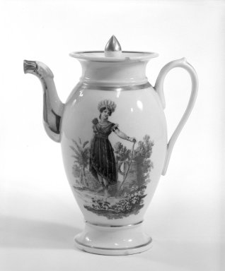 "<em>Coffee Pot and Cover</em>, 1800-1810. Hard paste porcelain, Diameter of rim 4"": 9 1/4 × 4 in. (23.5 × 10.2 cm). Brooklyn Museum, Bequest of James Hazen Hyde, 60.12.60a-b. Creative Commons-BY (Photo: Brooklyn Museum, 60.12.60a-b_side1_bw.jpg)"