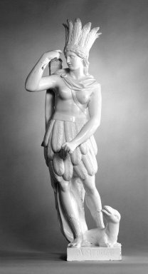 <em>Allegorical Figure of America from the Four Continents</em>. White earthenware Brooklyn Museum, Bequest of James Hazen Hyde, 60.12.62. Creative Commons-BY (Photo: Brooklyn Museum, 60.12.62_bw.jpg)
