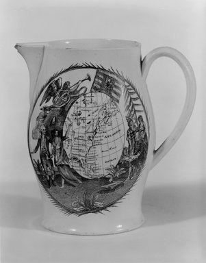 Unknown. <em>Pitcher</em>, ca. 1790. Glazed earthenware, Height: 5 5/8 in. (14.3 cm). Brooklyn Museum, Bequest of James Hazen Hyde, 60.12.70. Creative Commons-BY (Photo: Brooklyn Museum, 60.12.70_bw.jpg)