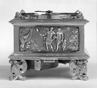 Johann Sayller. <em>Table Clock</em>, 17th century. Bronze, silver and steel, 4 1/2 x 5 1/2 x 5 1/2 in. (11.4 x 14 x 14 cm). Brooklyn Museum, Bequest of James Hazen Hyde, 60.12.83. Creative Commons-BY (Photo: Brooklyn Museum, 60.12.83_side_bw.jpg)