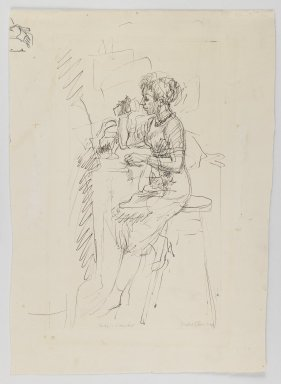 Isabel Bishop (American, 1902-1988). <em>Soda Fountain</em>, n.d. Pen and ink on paper, Sheet: 11 13/16 x 8 5/8 in. (30 x 21.9 cm). Brooklyn Museum, Dick S. Ramsay Fund, 60.126.1. © artist or artist's estate (Photo: Brooklyn Museum, 60.126.1_recto_IMLS_PS3.jpg)