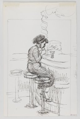 Isabel Bishop (American, 1902-1988). <em>Soda Fountain</em>, ca. 1965. Black ink and graphite on off-white, moderately thick, smooth wove paper, Sheet: 11 5/16 x 7 3/8 in. (28.7 x 18.7 cm). Brooklyn Museum, Dick S. Ramsay Fund, 60.126.2. © artist or artist's estate (Photo: Brooklyn Museum, 60.126.2_recto_IMLS_PS3.jpg)