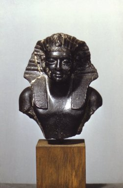 <em>Bust of a King</em>. Steatite, 4 3/8 x 3 3/4 x 2 7/8 in. (11.1 x 9.5 x 7.3 cm). Brooklyn Museum, Charles Edwin Wilbour Fund, 60.130. Creative Commons-BY (Photo: Brooklyn Museum, 60.130_front.jpg)