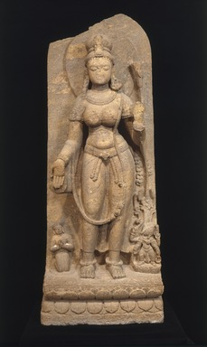 <em>Green Tara</em>, 8th century. Khondalite, 67 3/8 x 26 x 17 1/2 in., 1109 lb. (171.2 x 66 x 44.5 cm, 503.04kg). Brooklyn Museum, Carll H. de Silver Fund and Ella C. Woodward Memorial Fund, 60.138. Creative Commons-BY (Photo: Brooklyn Museum, 60.138_SL1.jpg)