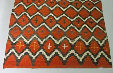 Navajo. <em>Rug with Lightening and Cross Design</em>, ca. 1870-1880. Wool, 76 3/4 x 59 13/16 in.  (195.0 x 152.0 cm). Brooklyn Museum, Gift of Thomas Watters, Jr., 60.145.8. Creative Commons-BY (Photo: Brooklyn Museum, 60.145.8_PS5.jpg)