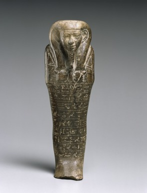 Egyptian. <em>Funerary Figurine of Montuemhat</em>, ca. 670-650 B.C.E. Steatite, 8 3/4 x 3 x 2 in. (22.2 x 7.6 x 5.1 cm). Brooklyn Museum, Charles Edwin Wilbour Fund, 60.182. Creative Commons-BY (Photo: Brooklyn Museum, 60.182_SL1.jpg)