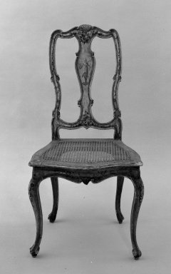 <em>Side Chair</em>. Painted wood, 41 x 22 x 24 in. (104.1 x 55.9 x 61 cm). Brooklyn Museum, Gift of Joseph Kane, 60.183. Creative Commons-BY (Photo: Brooklyn Museum, 60.183_acetate_bw.jpg)