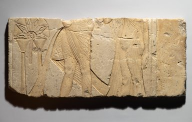 <em>Relief of Akhenaten and Nefertiti</em>, ca. 1353–1336 B.C.E. Limestone, pigment, 9 3/16 x 20 1/2 in. (23.4 x 52 cm). Brooklyn Museum, Charles Edwin Wilbour Fund, 60.197.1. Creative Commons-BY (Photo: Brooklyn Museum, 60.197.1_PS2.jpg)