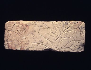 <em>Relief of People Driving off Birds</em>, ca. 1352-1336 B.C.E. Limestone, pigment, 8 1/4 x 21 1/4 in. (21 x 54 cm). Brooklyn Museum, Charles Edwin Wilbour Fund, 60.197.3. Creative Commons-BY (Photo: Brooklyn Museum, 60.197.3_transp5405.jpg)