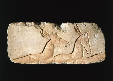 <em>Antelopes</em>, ca. 1352-1336 B.C.E. Limestone, pigment, 20 11/16 x 8 7/8 in. (52.5 x 22.5 cm). Brooklyn Museum, Charles Edwin Wilbour Fund, 60.197.5. Creative Commons-BY (Photo: Brooklyn Museum, 60.197.5_SL1.jpg)