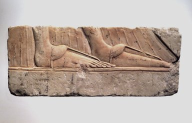 <em>Relief of Sandaled Feet of a Royal Woman</em>, 1352-1332 B.C. Limestone, pigment, 8 7/8 x 21 3/4 in. (22.6 x 55.3 cm). Brooklyn Museum, Charles Edwin Wilbour Fund, 60.197.7. Creative Commons-BY (Photo: Brooklyn Museum, 60.197.7_transpc004.jpg)