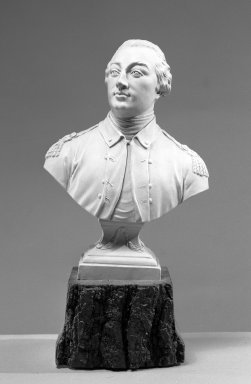 Neale & Company. <em>Portrait Bust</em>, ca. 1785. Stoneware, 7 3/4 x 5 1/2 x 2 3/4 in. (19.7 x 14 x 7 cm). Brooklyn Museum, Gift of Emily Winthrop Miles, 60.198.15. Creative Commons-BY (Photo: Brooklyn Museum, 60.198.15_acetate_bw.jpg)