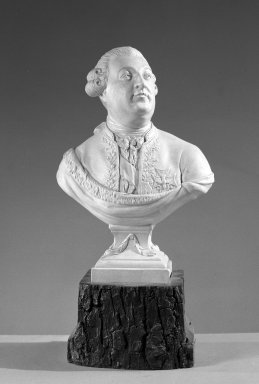 Possibly Neale & Company. <em>Bust on Plinth</em>, ca. 1785. Possibly porcelain, 8 x 5 3/8 x 2 3/4 in. (20.3 x 13.7 x 7 cm). Brooklyn Museum, Gift of Emily Winthrop Miles, 60.198.17. Creative Commons-BY (Photo: Brooklyn Museum, 60.198.17_acetate_bw.jpg)