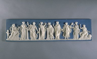 Wedgwood & Bentley (1768-1780). <em>Plaque</em>, ca.1775. Stoneware, 6 1/2 x 25 1/2 in. (16.5 x 64.8 cm). Brooklyn Museum, Gift of Emily Winthrop Miles, 60.198.1. Creative Commons-BY (Photo: Brooklyn Museum, 60.198.1_SL1.jpg)