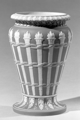 Josiah Wedgwood & Sons Ltd. (founded 1759). <em>Bridal Vase</em>, ca. 1785-1795. Stoneware, 7 x 4 1/4 in. (17.8 x 10.8 cm). Brooklyn Museum, Gift of Emily Winthrop Miles, 60.198.21. Creative Commons-BY (Photo: Brooklyn Museum, 60.198.21_acetate_bw.jpg)