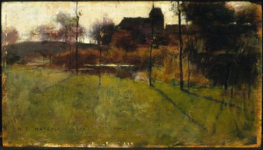 Willard Leroy Metcalf (American, 1858-1925). <em>Afternoon by the River at Grez</em>, 1884. Oil on panel, 6 11/16 x 11 7/8 in. (17 x 30.2 cm). Brooklyn Museum, Gift of Wickersham June, 60.19 (Photo: Brooklyn Museum, 60.19_SL1.jpg)