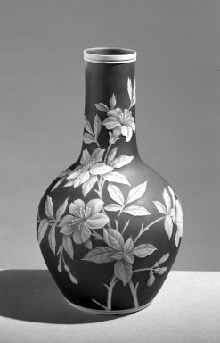 Thomas Webb & Sons. <em>Vase</em>, ca. 1880. Glass, 9 1/8 x 3 1/4 in. (23.2 x 8.3 cm). Brooklyn Museum, Gift of Mrs. R. H. Yoakum, 60.200. Creative Commons-BY (Photo: Brooklyn Museum, 60.200_acetate_bw.jpg)