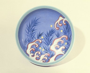 <em>Bowl</em>, 18th century or later. Porcelain with green and cobalt underglaze and overglaze enamel decoration, 2 3/16 x 8 1/8 in. (5.5 x 20.6 cm). Brooklyn Museum, Museum Collection Fund, 60.202. Creative Commons-BY (Photo: Brooklyn Museum, 60.202_SL1.jpg)