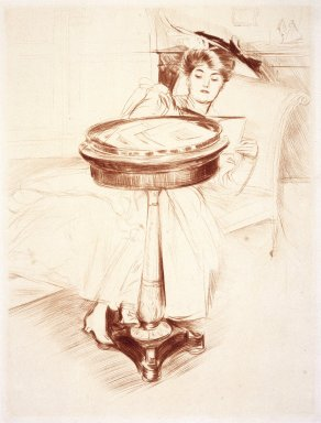 Paul-César Helleu (French, 1859-1927). <em>Woman Reading</em>, ca. 1895. Drypoint on paper, Sheet: 23 1/4 x 17 1/8 in. (59.1 x 43.5 cm). Brooklyn Museum, Gift of Rodman A. Heeren, 60.203.2 (Photo: Brooklyn Museum, 60.203.2_SL1.jpg)