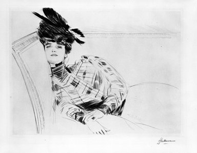 Paul-César Helleu (French, 1859-1927). <em>Woman Reclining</em>. Drypoint on wove paper, Plate: 11 3/4 x 15 1/2 in. (29.8 x 39.4 cm). Brooklyn Museum, Gift of Rodman A. Heeren, 60.203.3 (Photo: Brooklyn Museum, 60.203.3_bw.jpg)