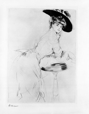 Paul-César Helleu (French, 1859-1927). <em>Woman Near a Table</em>. Drypoint on wove paper, Plate: 15 1/2 x 11 3/8 in. (39.4 x 28.9 cm). Brooklyn Museum, Gift of Rodman A. Heeren, 60.203.4 (Photo: Brooklyn Museum, 60.203.4_bw.jpg)