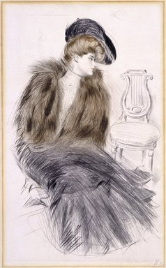 Paul-César Helleu (French, 1859-1927). <em>Woman Seated</em>, ca. 1895. Drypoint on wove paper, Image: 20 3/4 x 12 3/4 in. (52.7 x 32.4 cm). Brooklyn Museum, Gift of Rodman A. Heeren, 60.203.5 (Photo: Brooklyn Museum, 60.203.5_SL1.jpg)