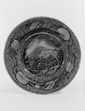 "Enoch Wood & Sons (active 1818-1846). <em>Soup Plate, ""Pine Orchard House, Catskill Mountains,""</em> ca. 1835. Earthenware, blue underglaze, 10 1/4 x 10 1/4 in. (26 x 26 cm). Brooklyn Museum, Gift of Mrs. William C. Esty, 60.213.186. Creative Commons-BY (Photo: Brooklyn Museum, 60.213.186_bw.jpg)"