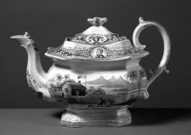 W. Adams & Sons. <em>Teapot and Cover</em>, ca.1840. Earthenware, 6 3/4 x 5 3/4 x 10 in. (17.1 x 14.6 x 25.4 cm). Brooklyn Museum, Gift of Mrs. William C. Esty, 60.213.19. Creative Commons-BY (Photo: Brooklyn Museum, 60.213.19_acetate_bw.jpg)