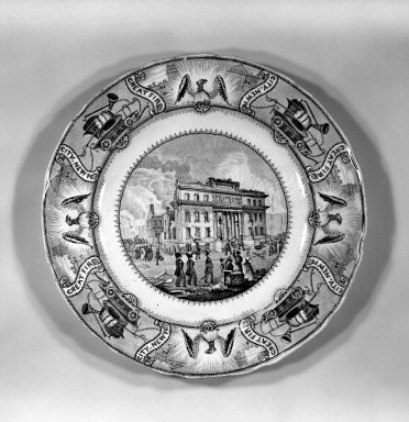 <em>Plate</em>, ca. 1835. Earthenware Brooklyn Museum, Gift of Mrs. William C. Esty, 60.213.47. Creative Commons-BY (Photo: Brooklyn Museum, 60.213.47_bw.jpg)