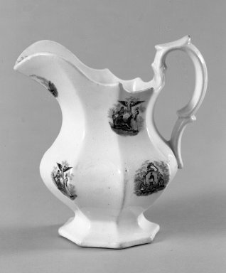 Mellor Venables & Company. <em>Pitcher</em>, ca. 1850. Earthenware, 4 3/4 x 3 3/4 x 3 3/4 in. (12.1 x 9.5 x 9.5 cm). Brooklyn Museum, Gift of Mrs. William C. Esty, 60.213.5. Creative Commons-BY (Photo: Brooklyn Museum, 60.213.5_bw.jpg)