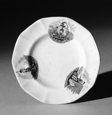 Mellor Venables & Company. <em>Cup Plate (white)</em>, ca. 1850. Earthenware, 3 7/8 in. (9.8 cm). Brooklyn Museum, Gift of Mrs. William C. Esty, 60.213.7. Creative Commons-BY (Photo: Brooklyn Museum, 60.213.7_bw.jpg)