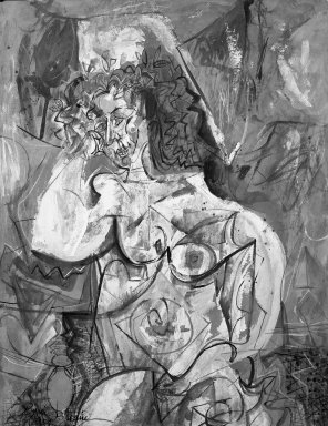 Byron Browne (American, 1907-1961). <em>Figure</em>, 1954. Gouache on paper Brooklyn Museum, Gift of Dr. Emanuel Klein, 60.215.4. © artist or artist's estate (Photo: Brooklyn Museum, 60.215.4_acetate_bw.jpg)