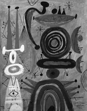 Byron Browne (American, 1907-1961). <em>Carnival</em>, 1952. Gouache Brooklyn Museum, Gift of Dr. Emanuel Klein, 60.215.6. © artist or artist's estate (Photo: Brooklyn Museum, 60.215.6_acetate_bw.jpg)