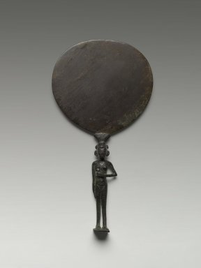 Egyptian. <em>Mirror with Handle in Form of Girl</em>, ca. 1400-1292 B.C.E. Bronze, 8 3/4 x 4 13/16 in. (22.2 x 12.2 cm). Brooklyn Museum, Charles Edwin Wilbour Fund, 60.27.1. Creative Commons-BY (Photo: Brooklyn Museum, 60.27.1_front_PS2.jpg)